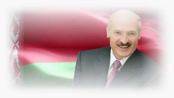 President of Belarus Alexander Lukashenko at the Belarusian flag background